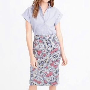 J Crew No. 2 Pencil Skirt in Paisley Size 12